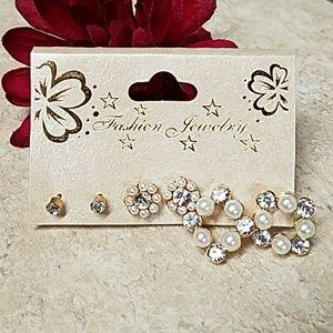 M002 PAIR Crystal & Faux Pearl Minimalist Earrings