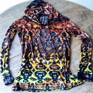 Tops - Long sleeve paisley ombre fall hoodie