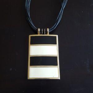 Jewelry - Black, White, Gold Enamel Necklace Fashion Jewelry