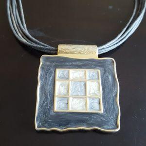 Jewelry - Grey & Gold Enamel Necklace - Fashion Jewerly