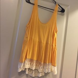 Yellow tank top with lace