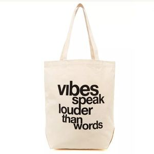 Dogeared Vibes Speak Louder Canvas Tote Bag Eco
