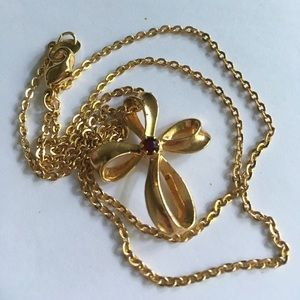Avon Jewelry - AVON Vintage Gold Cross with Red Stone