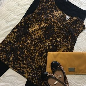 Merona XL dress top in black, brown and gold.