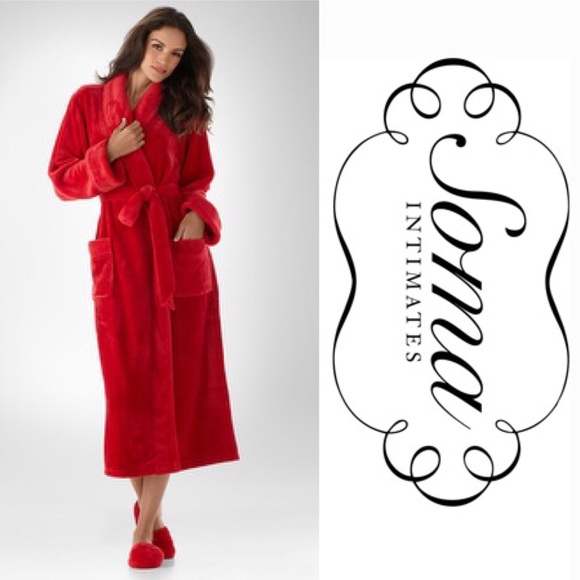 NWT Soma Intimates Cherry Red Robe and Slippers! cb17c1142