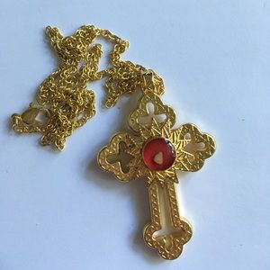 Jewelry - Cross on Gold Chain with Encased Relic
