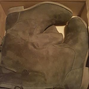 Olive Green knee high Suede boots