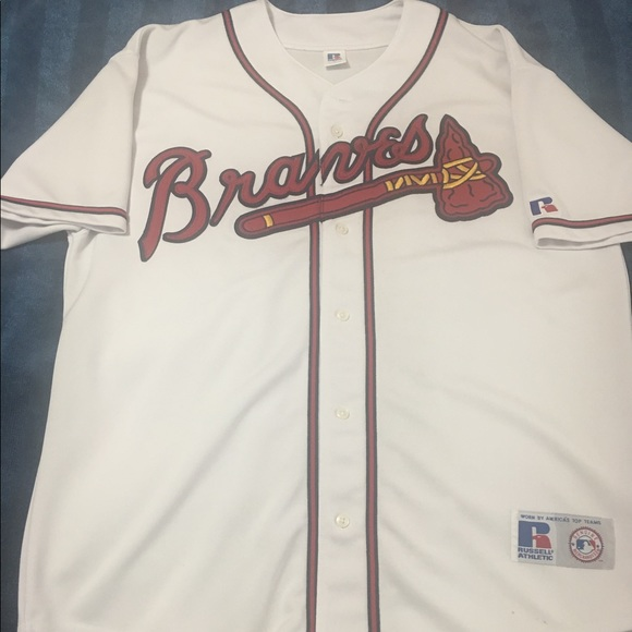 sports shoes c9c40 d9aa7 Atlanta Braves Russell Athletic Baseball Jersey