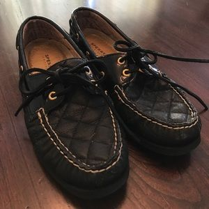 SPERRY Top SIDERS QUILT LOAFER SZ 8 BLK-GOLD LACE