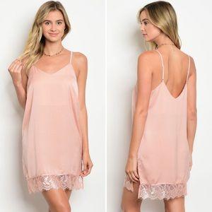 Blush Lace Trim Slip Dress
