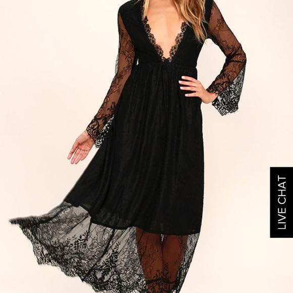 1736d69fa7e Lulu's Dresses   Glamorous Twilight Hour Black Lace Maxi Dress ...