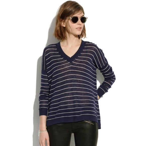 Madewell Sweaters - Madewell longview v neck sweater in stripe