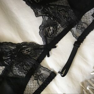 e940b6b07 Victoria s Secret Intimates   Sleepwear - Sexy Black Satin   Lace Suspender  Garter Belt