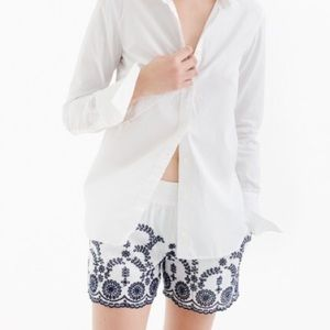 NWT {JCrew} Pull-on short with floral embroidery