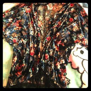 Jackets & Blazers - Boho urban witch velvet shawl w/fringe