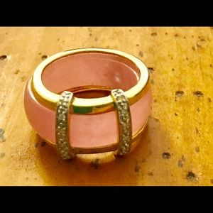 Jewelry - 18 KT Gold and pink jade with authentic diamonds