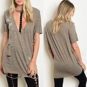 Tops - Olive Distressed Oversized Plunging V Choker Tee