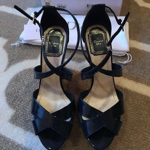 Dior patent navy wedge size 36