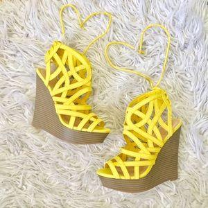 Shoedazzle Caged Wedge Heels