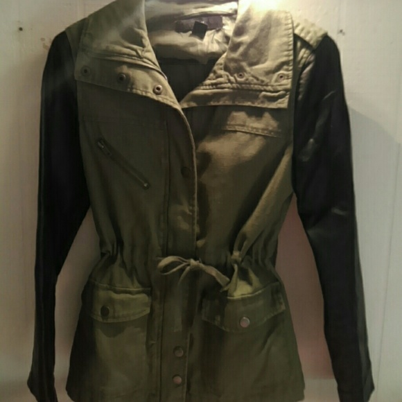 Forever 21 Jackets & Blazers - Leather sleeve army jacket
