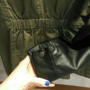 Forever 21 Jackets & Coats - Leather sleeve army jacket