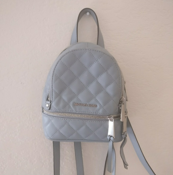 6536246133 Michael Kors Rhea Quilted Dusty Blue XS Backpack. M 597e76976d64bc3a0f0d70be