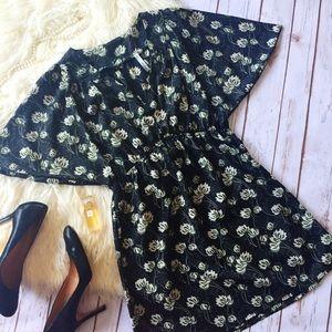 CoCo Love black green cream v-neck dress
