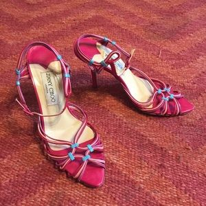 Jimmy Choo rainbow strappy leather sandal heels 36