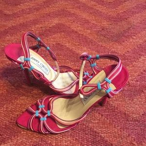 Jimmy Choo Shoes - Jimmy Choo rainbow strappy leather sandal heels 36