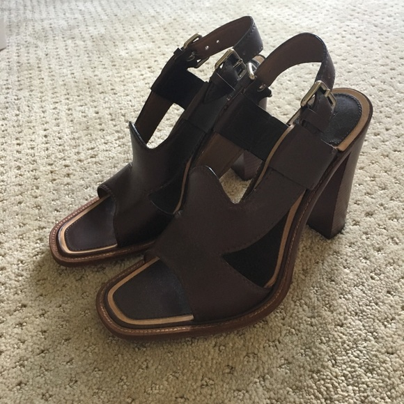 29e3496917f Prada brown leather stacked heel sandal. M 597e7e3b7f0a0598210d81c2