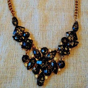 Jewelry - Black stone with gold specks and cubic zirconium s