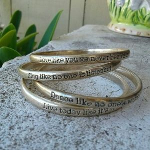 Jewelry - Inspirational Text Bangles (Set of 4)