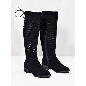 Black Lace Up Back Low Heel Knee High Boots