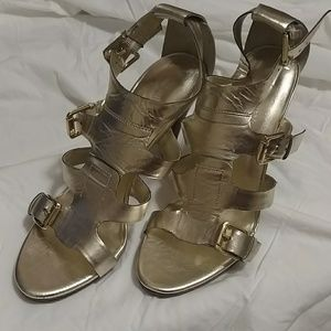 Nine West gold leather sandals
