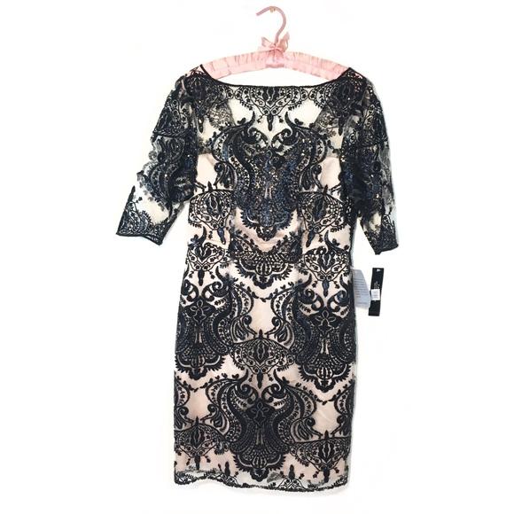 310eb5b63513 Tahari Dresses | Illusion Sequin Lace Sheath Dress | Poshmark