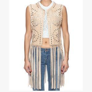 Alberto makali laser cut fringe vest