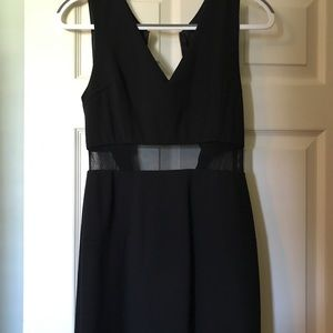 Black dress with see through mesh bands