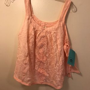 Tops - TWO tie side tank top with lace