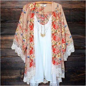 Printed Chiffon Loose Floral Kimono With Lace- Tan