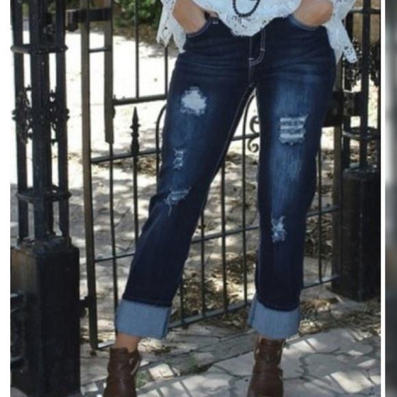 80676a4623b L B Denim - Dark Distressed L B Boyfriend Jeans Plus Size 20