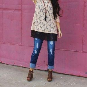 60736c31c9a L B Jeans - Dark Distressed L B Boyfriend Jeans Plus Size 20