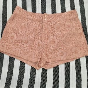 FOREVER21 Lace Shorts; Light Pink