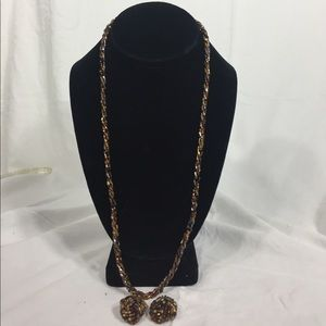 Brown bead necklace and earrings set