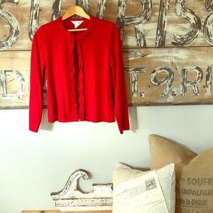 Misook red cardigan sweater