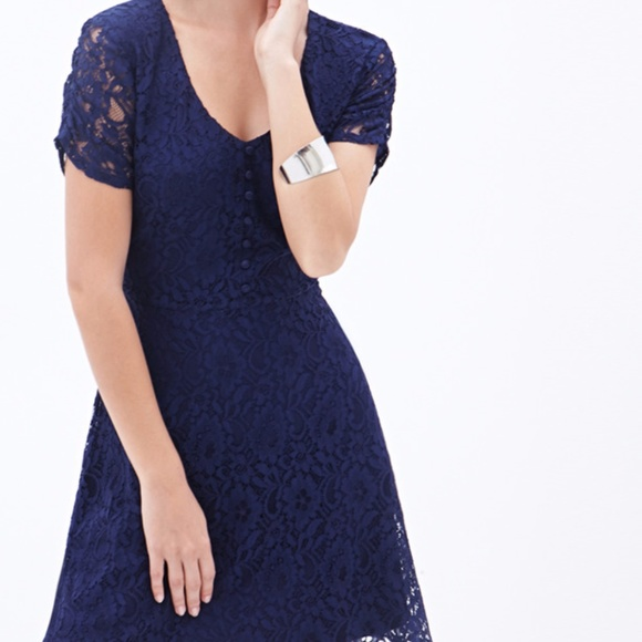 Casual Navy Blue Lace Dress Forever 21