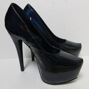 🌈Black Hologram Shiny Heels Platform Pumps Unique