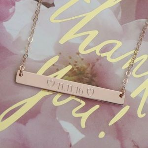 Jewelry - 14K Rose Gold-Filled Custom Engraved Bar Necklace