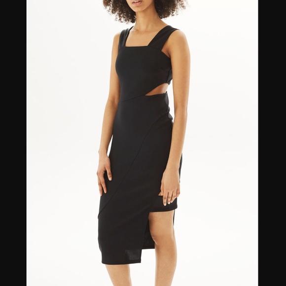 e68b5a05a77 Topshop wide strap cutout black midi holiday dress
