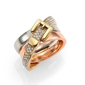 Stylish Michael Kors Tri-tone buckle Ring
