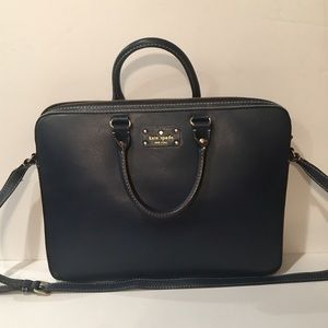 kate spade Bags Navy Blue Leather Computer Bag Poshmark